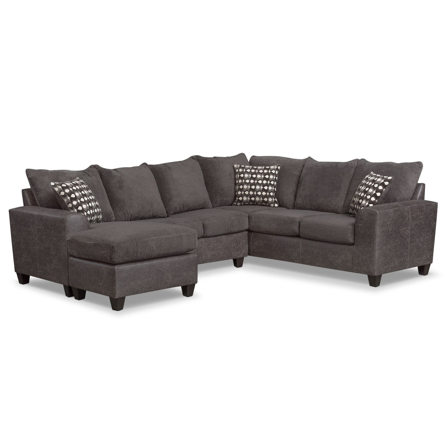 Brando 3 Piece Memory Foam Sleeper Sectional Smoke