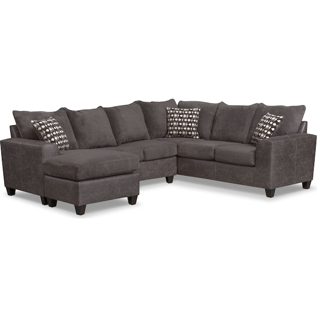 Living Room Furniture Brando 3 Piece Sectional With Modular Chaise