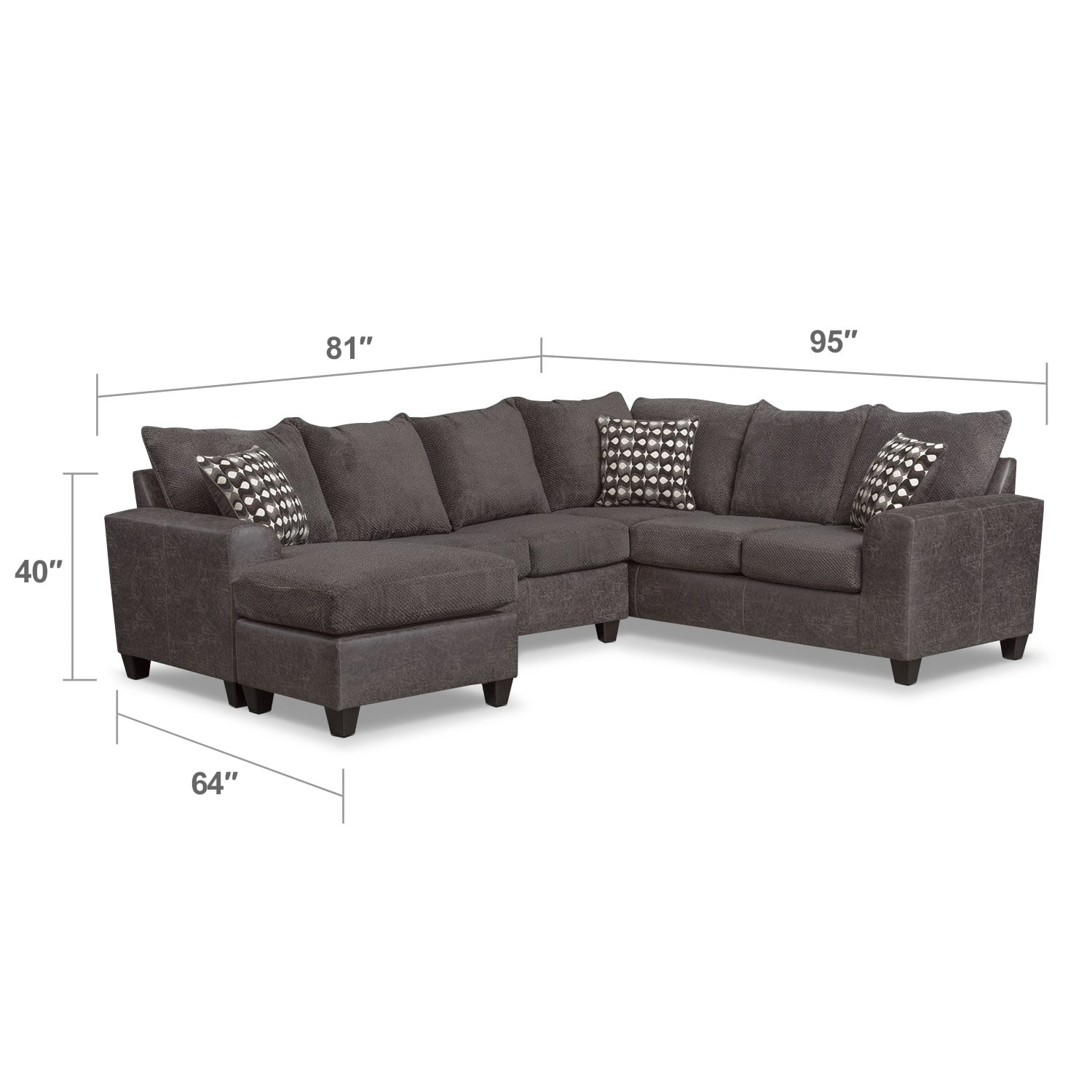 Living Room Furniture - Brando 3-Piece Sectional with Modular Chaise - Smoke