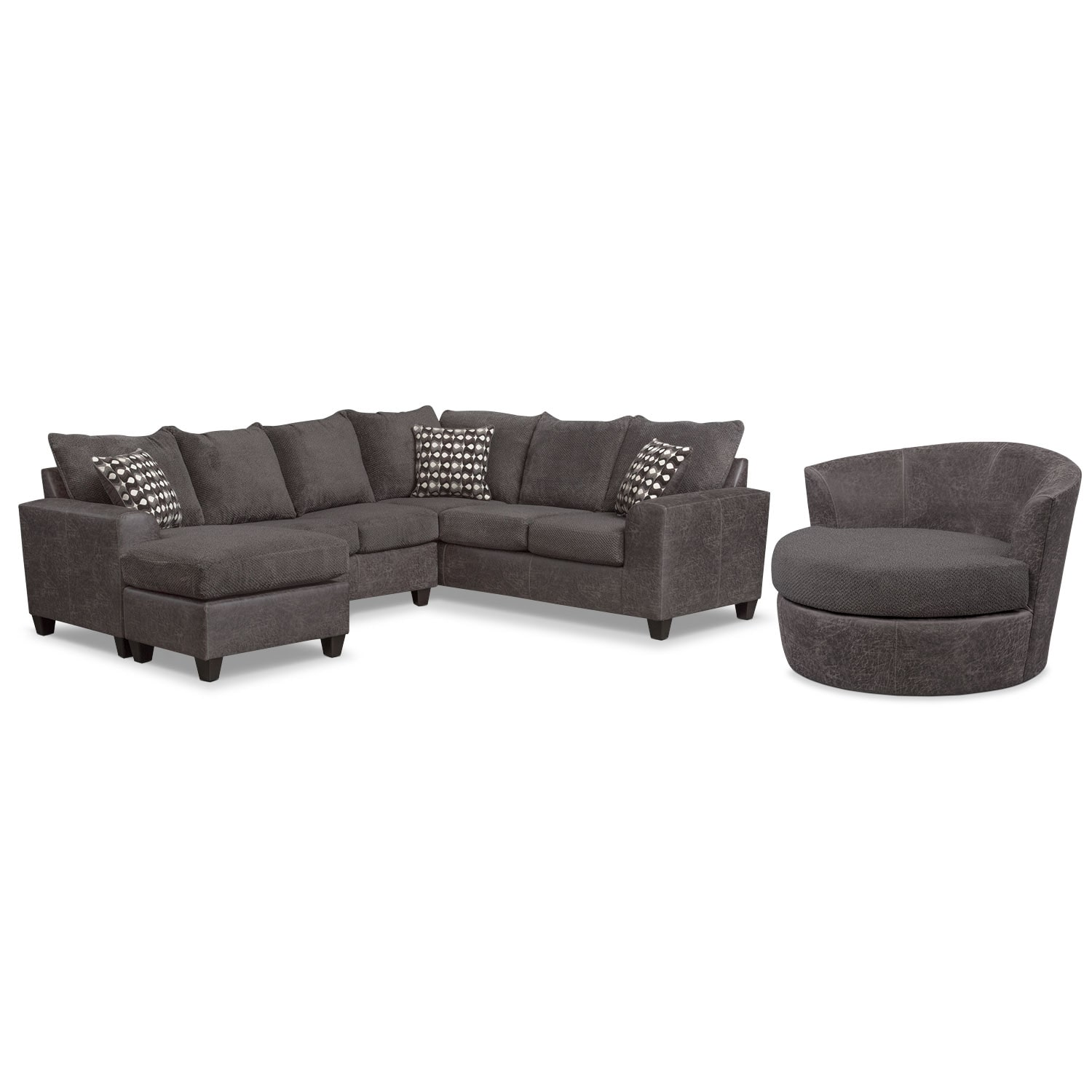 Living Room Furniture - Brando 3-Piece Sectional w/ Chaise and Swivel Chair Set - Smoke