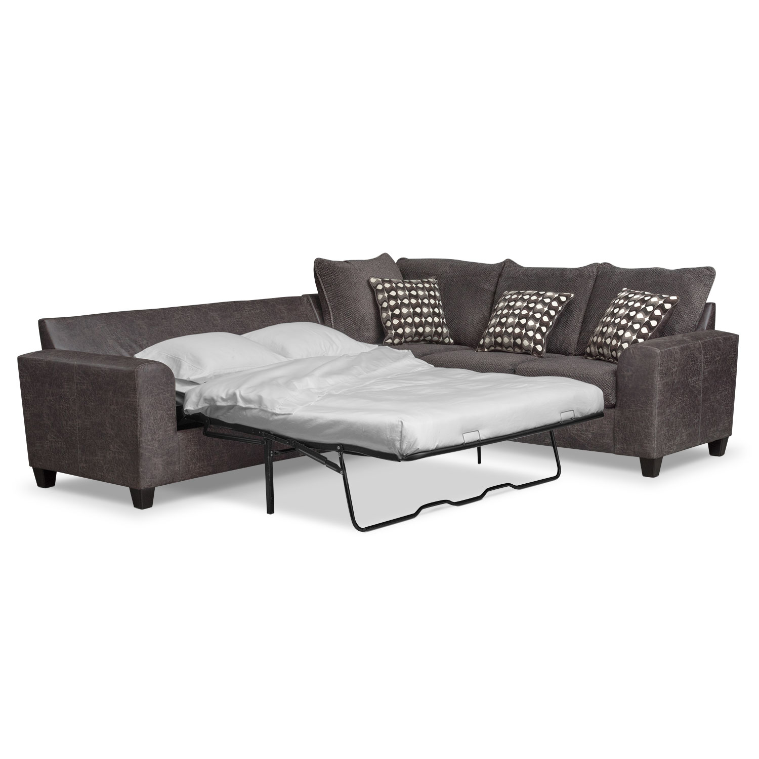 Brando 3-Piece Memory Foam Sleeper Sectional - Smoke