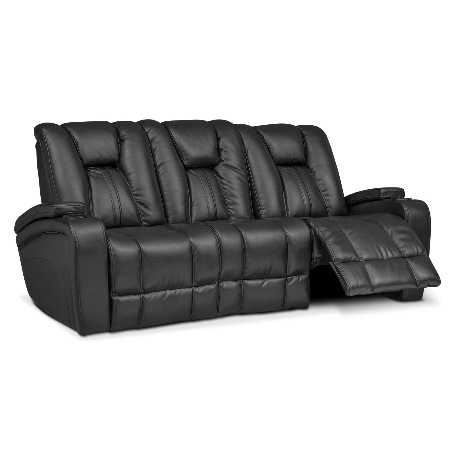Click to change image. - Pulsar Dual Power Reclining Sofa - Black Value City Furniture