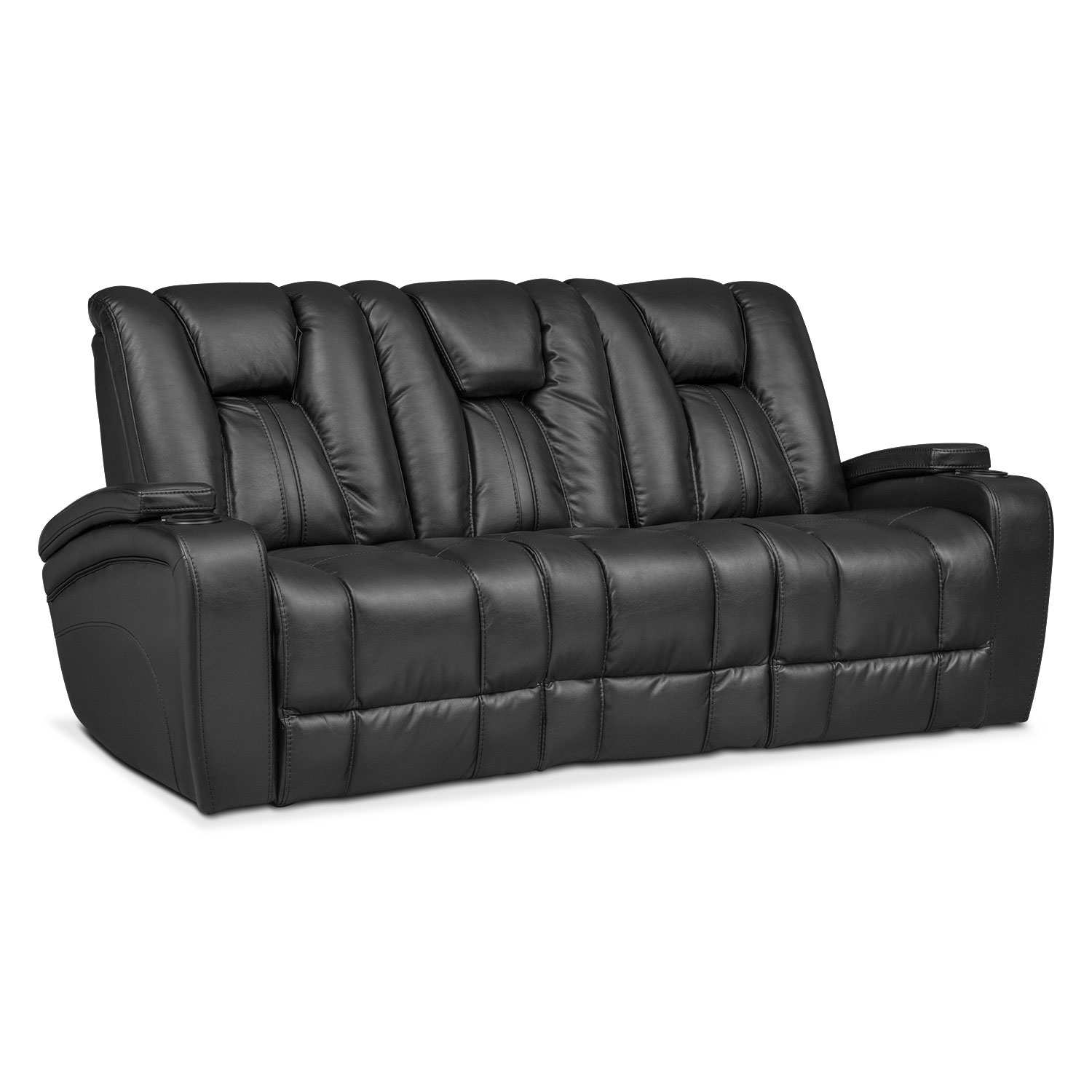 Pulsar Dual Power Reclining Sofa Black Value City