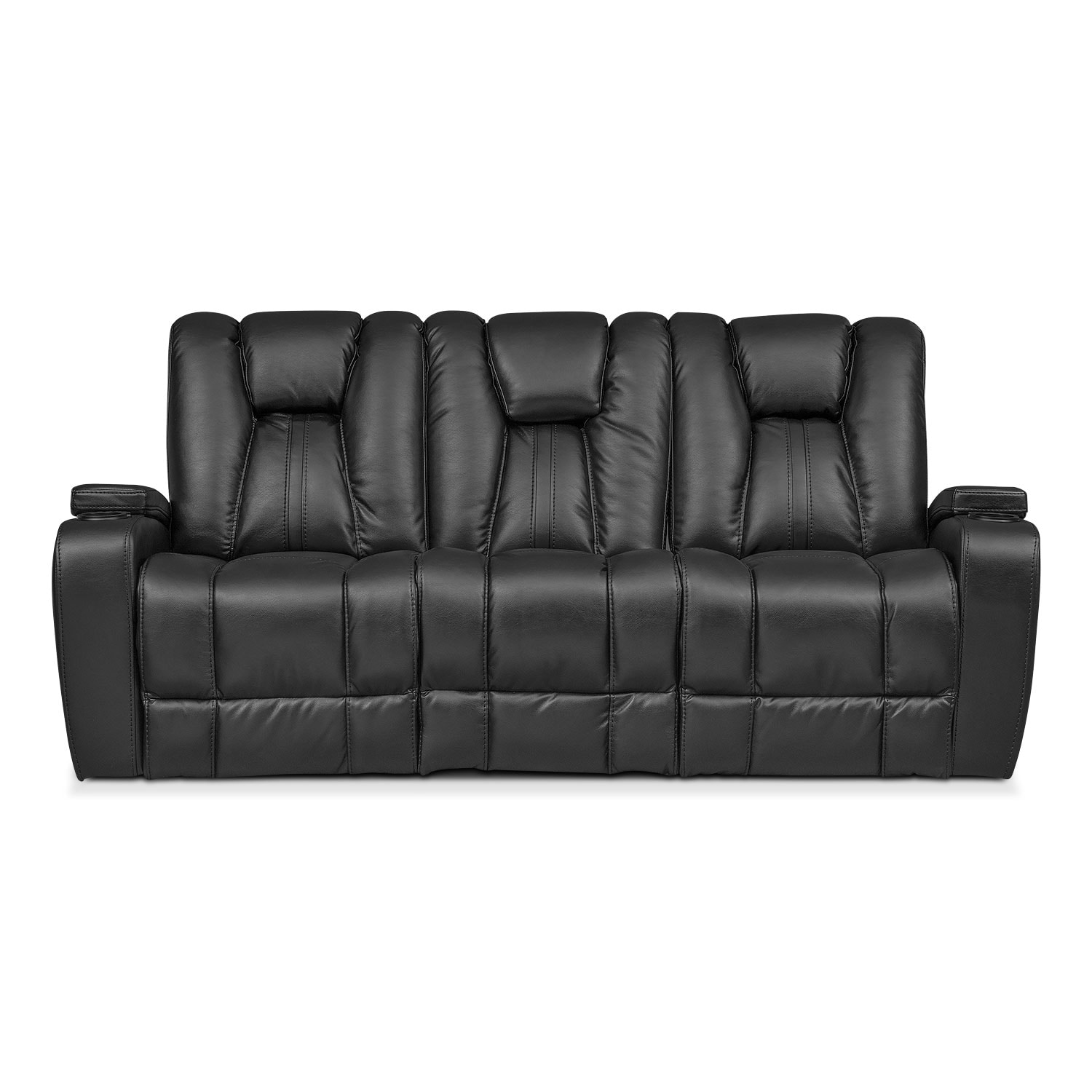 pulsar dual power reclining sofa black by one80 - Black Leather Loveseat
