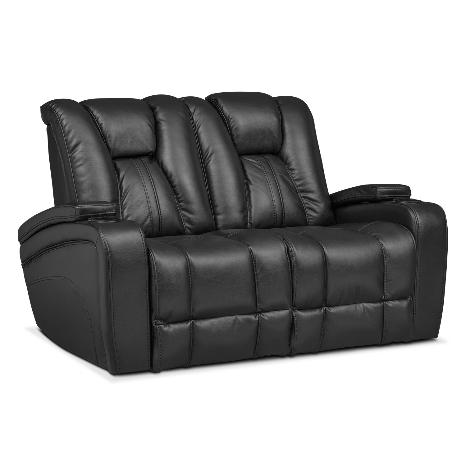 Pulsar Dual Power Reclining Loveseat Black Value City