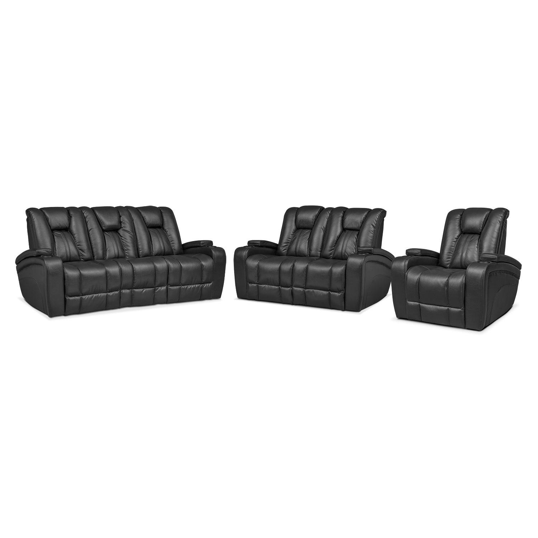 Living Room Furniture - Pulsar Power Reclining Sofa, Power Reclining Loveseat and Power Recliner Set - Black