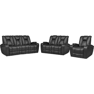Pulsar Power Reclining Sofa, Power Reclining Loveseat and Power Recliner Set - Black