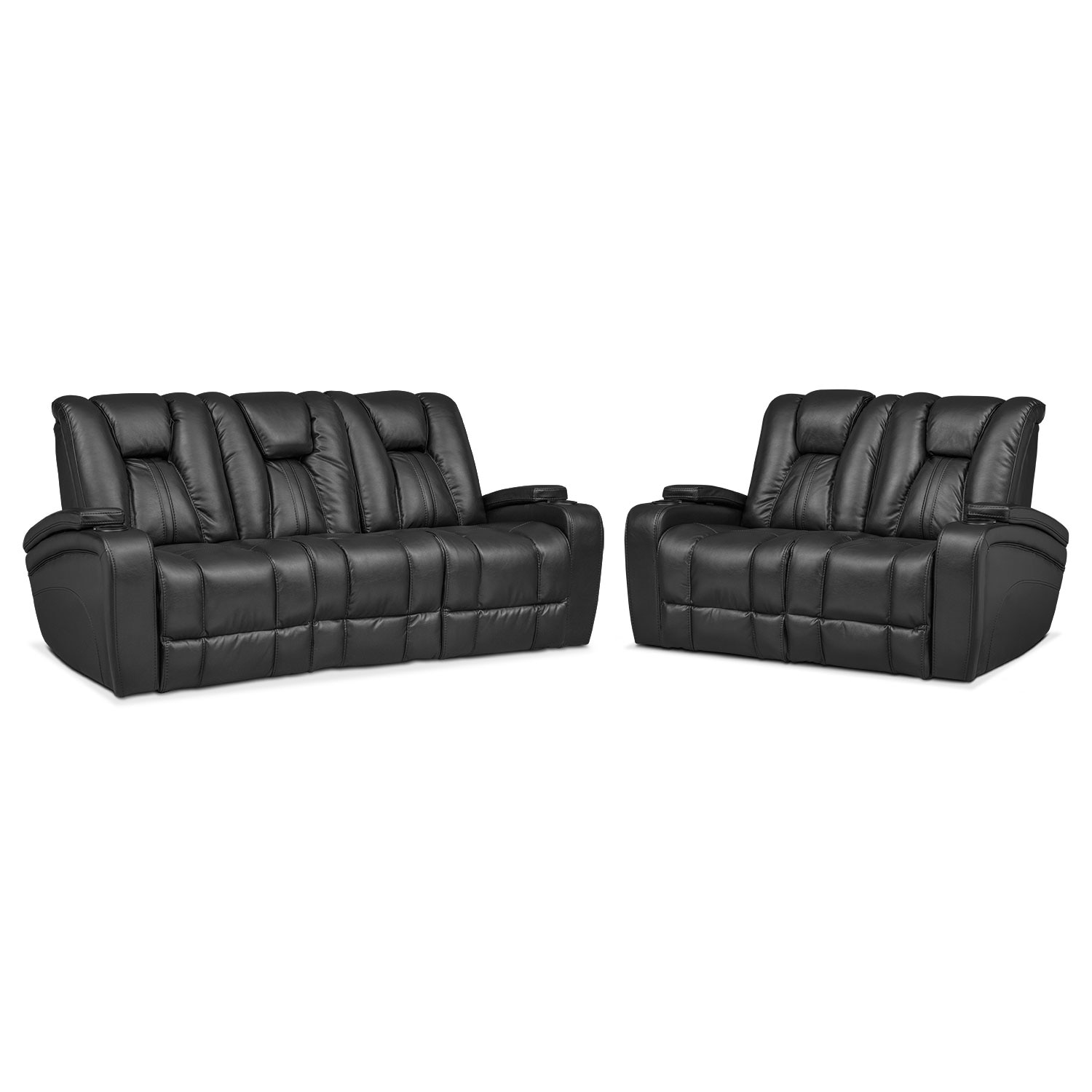 Pulsar Dual Power Reclining Sofa and Dual Power Reclining Loveseat Set - Black