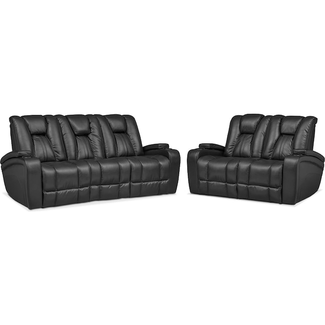 Living Room Furniture - Pulsar Dual Power Reclining Sofa and Dual Power Reclining Loveseat Set - Black