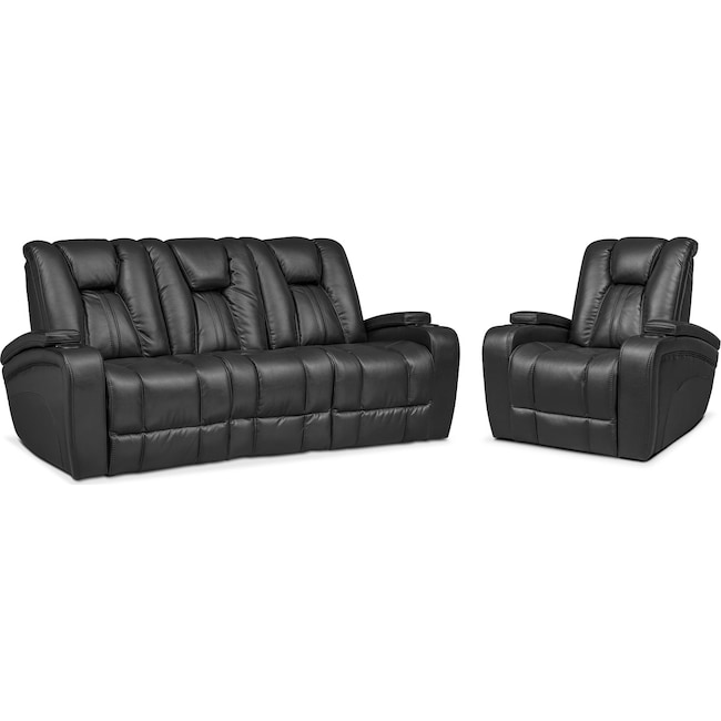 Living Room Furniture - Pulsar Dual Power Reclining Sofa and Power Recliner Set - Black