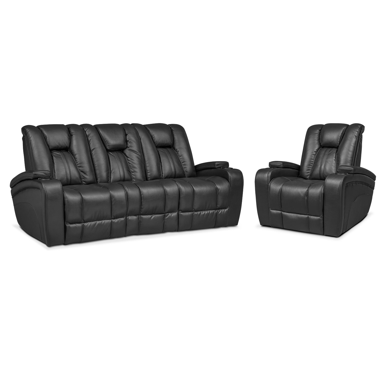 Superbe Living Room Furniture   Pulsar Dual Power Reclining Sofa And Power Recliner  Set   Black