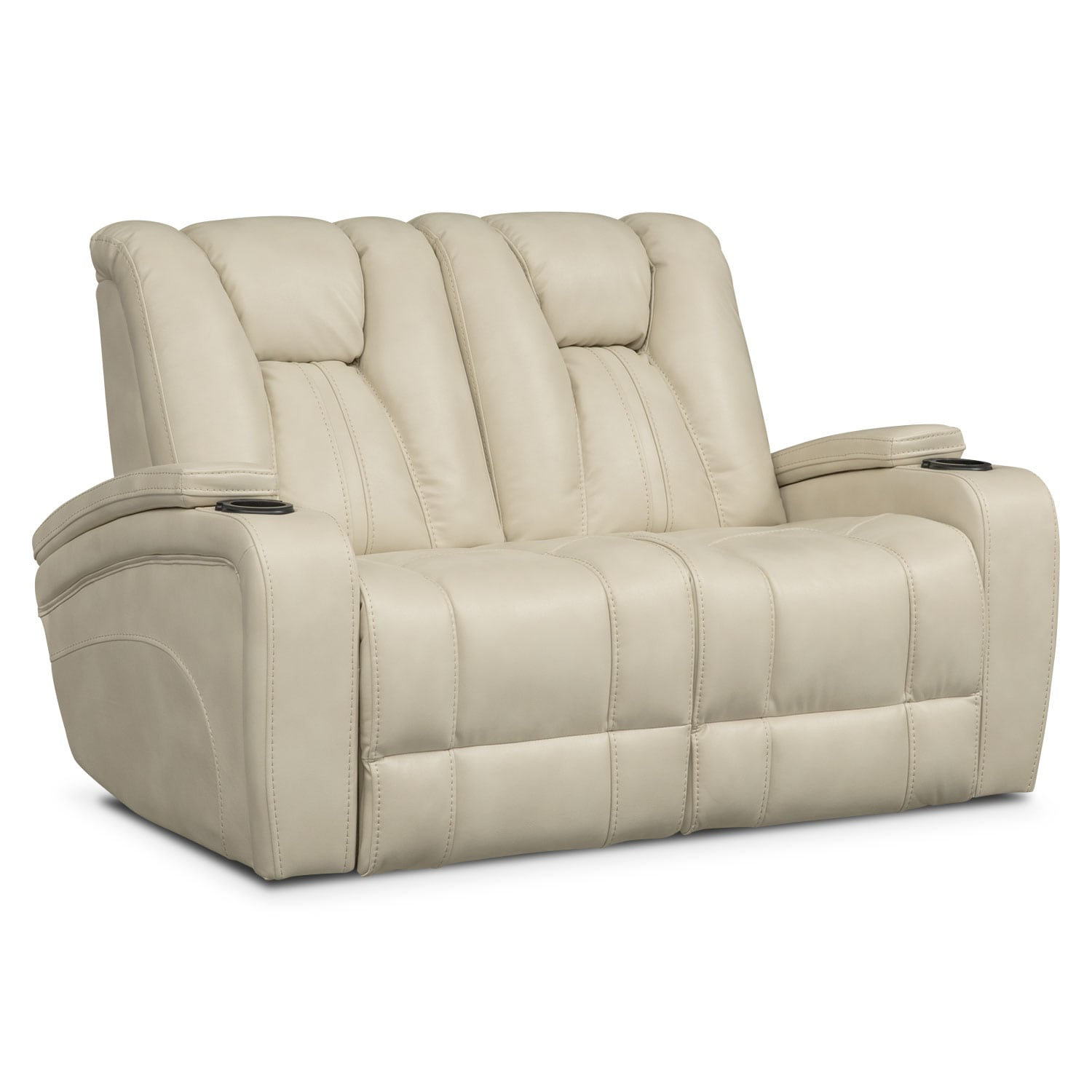 Living Room Furniture - Pulsar Dual Power Reclining Loveseat - Cream