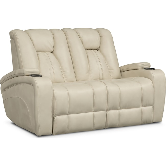 Living Room Furniture - Pulsar Dual Power Reclining Loveseat - Cream