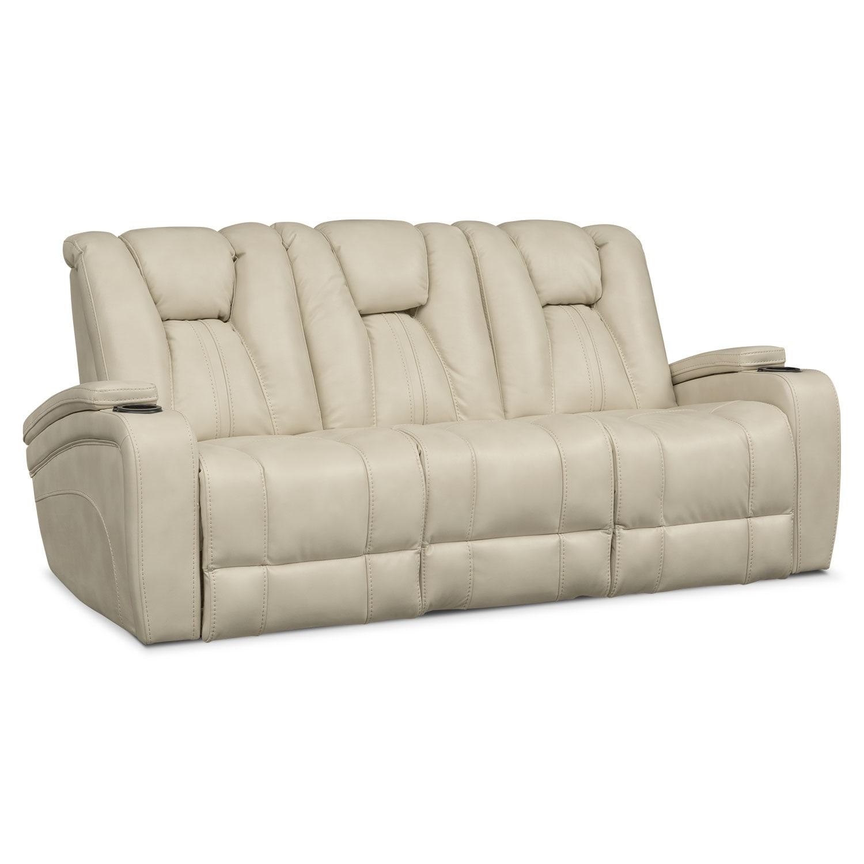 Attractive Living Room Furniture   Pulsar Dual Power Reclining Sofa   Cream