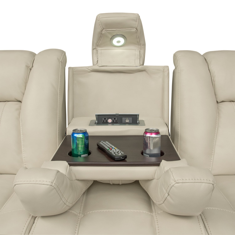 Pulsar Dual Power Reclining Sofa and Power Recliner Set Cream