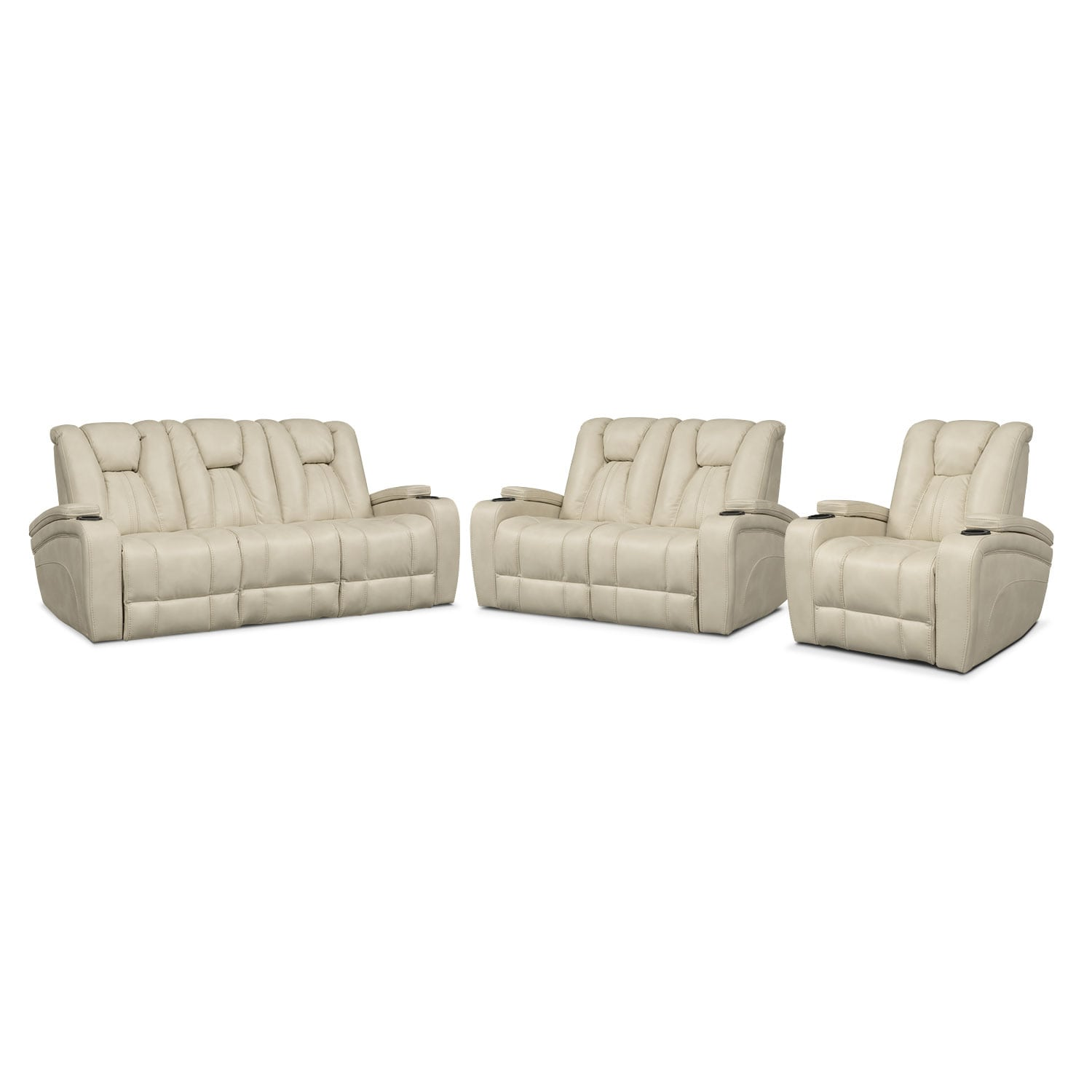 Pulsar Dual Power Reclining Sofa, Dual Power Reclining Loveseat and Power Recliner Set - Cream