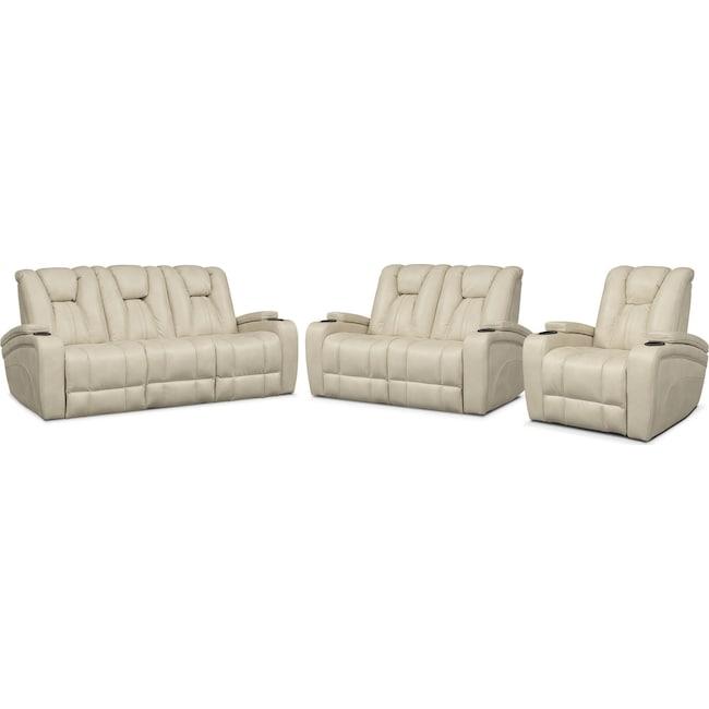 Living Room Furniture - Pulsar Dual Power Reclining Sofa, Dual Power Reclining Loveseat and Power Recliner Set - Cream