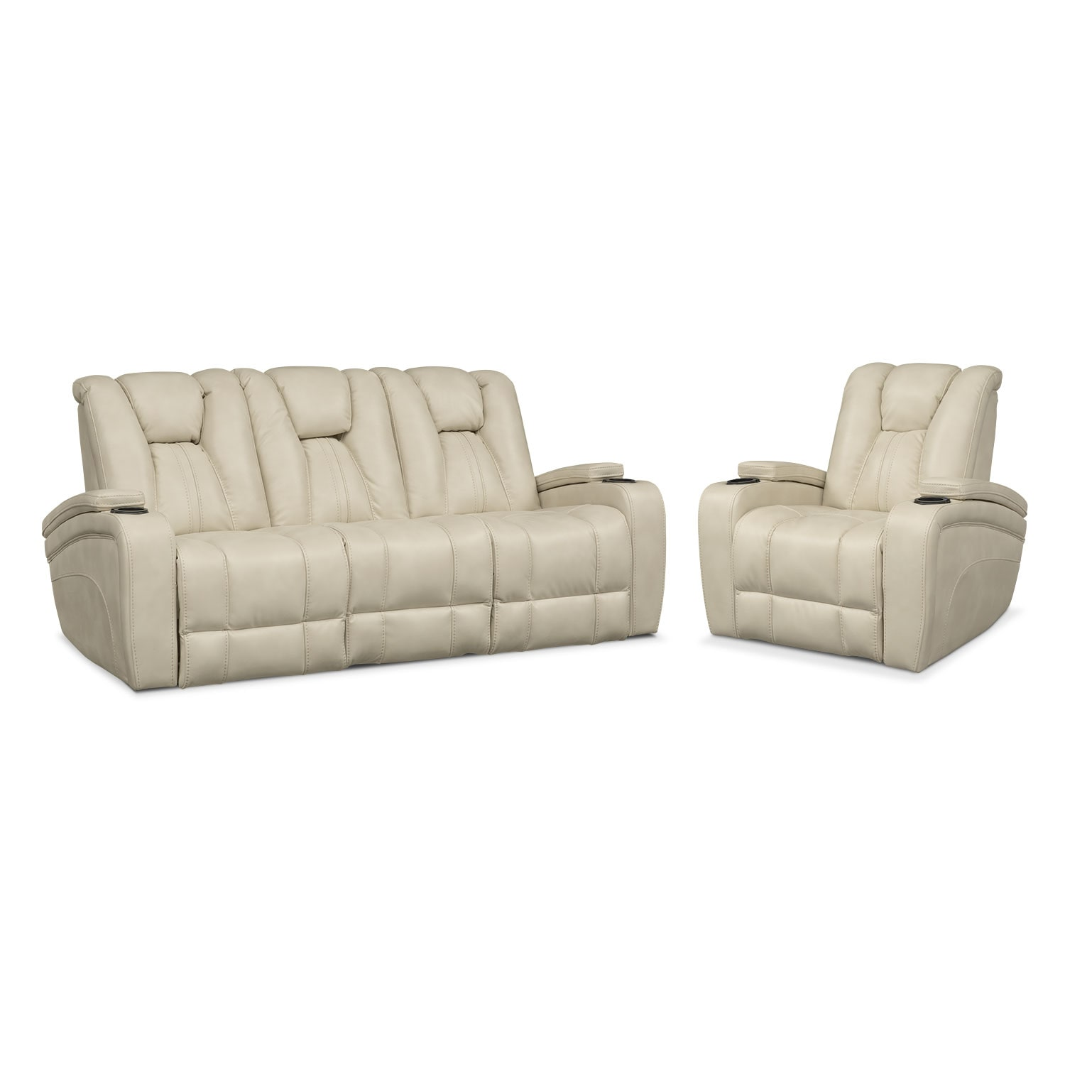 Ordinaire Living Room Furniture   Pulsar Dual Power Reclining Sofa And Power Recliner  Set   Cream
