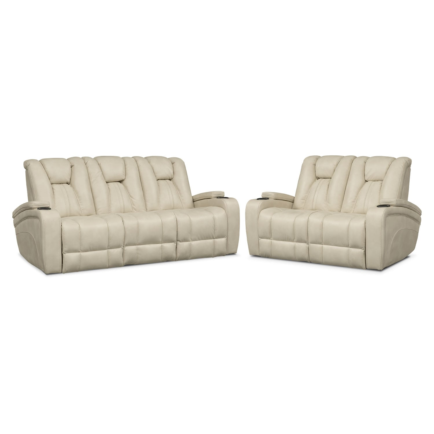 Living Room Furniture - Pulsar Dual Power Reclining Sofa and Dual Power Reclining Loveseat Set - Cream