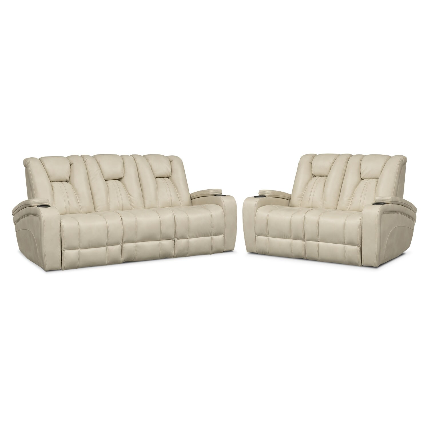 Living Room Furniture   Pulsar Dual Power Reclining Sofa And Dual Power  Reclining Loveseat Set