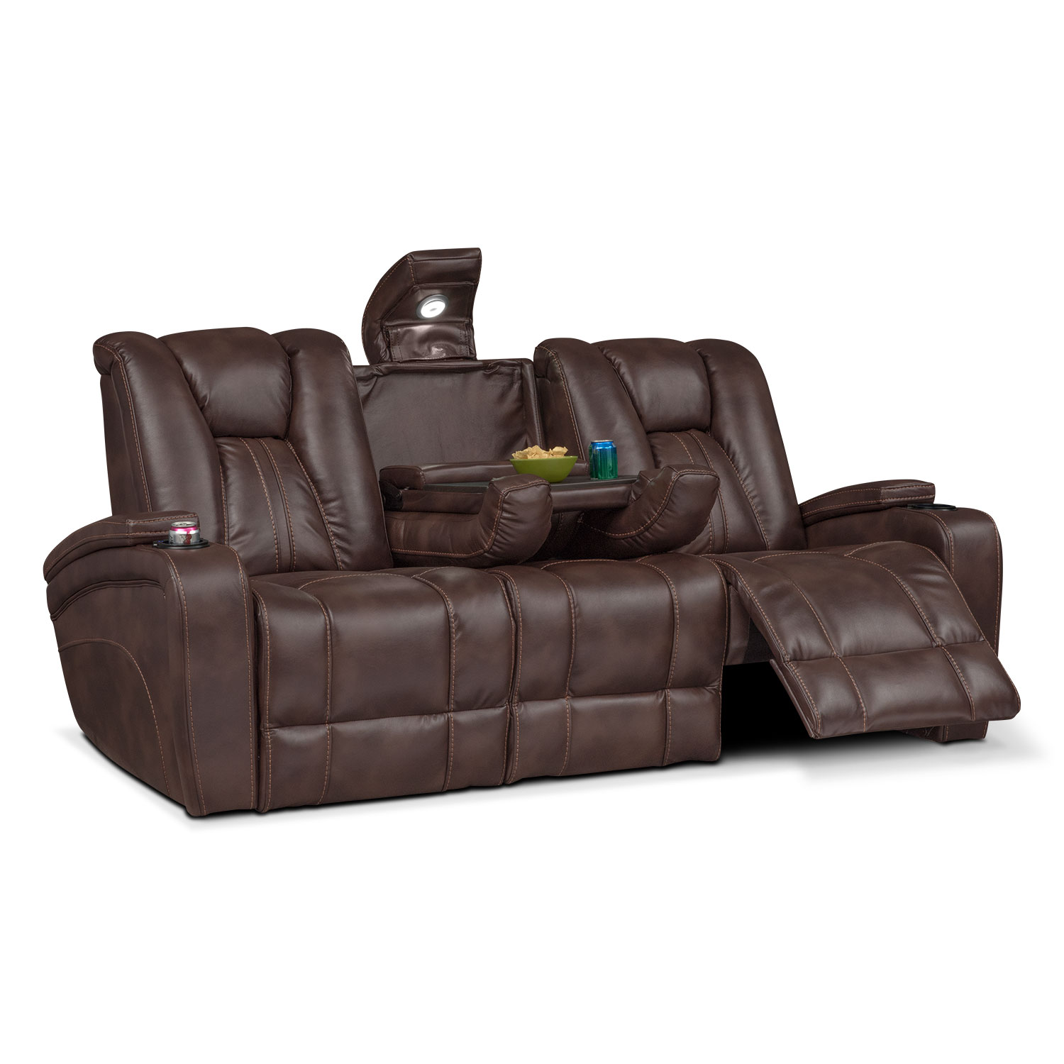 Pulsar Dual Power Reclining Sofa Brown