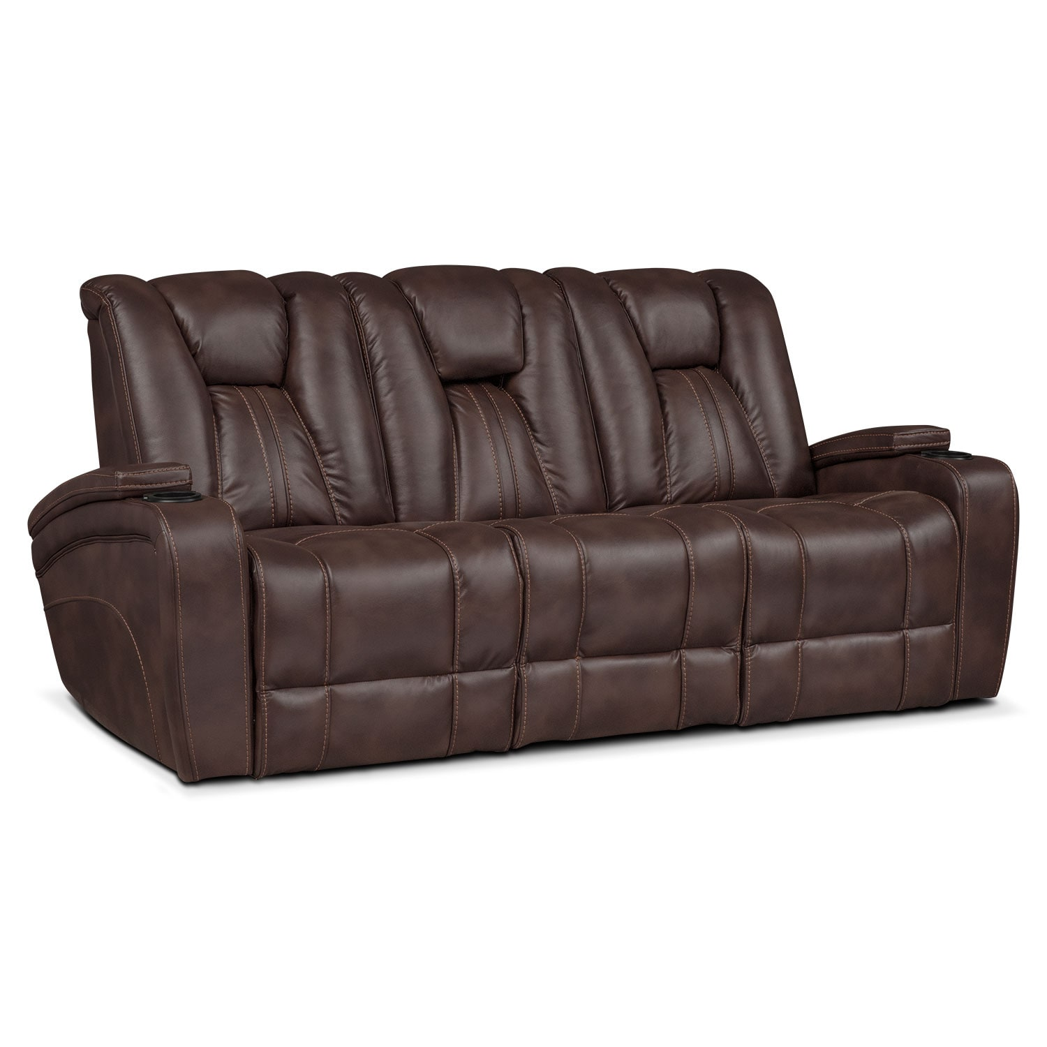 Beau ... Dual Power Reclining Sofa   Brown. Hover To Zoom