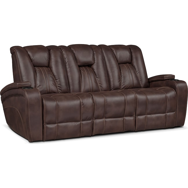 Living Room Furniture - Pulsar Dual Power Reclining Sofa - Brown