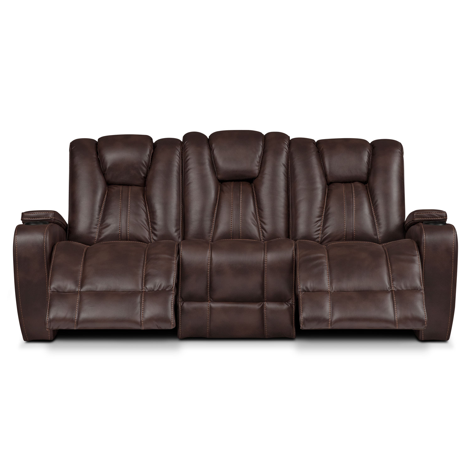 Pulsar Dual Power Reclining Sofa Brown Value City Furniture