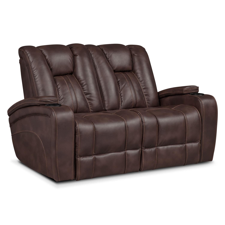 Living Room Furniture - Pulsar Dual Power Loveseat - Brown