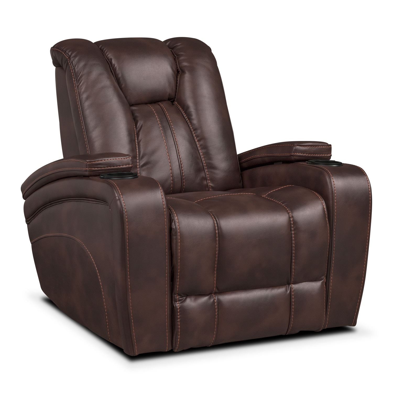 Living Room Furniture - Pulsar Power Recliner - Brown