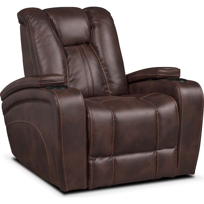 Living Room Furniture - Pulsar Power Recliner - Brown