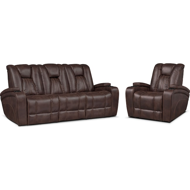 Living Room Furniture - Pulsar Dual Power Reclining Sofa and Power Recliner Set - Brown