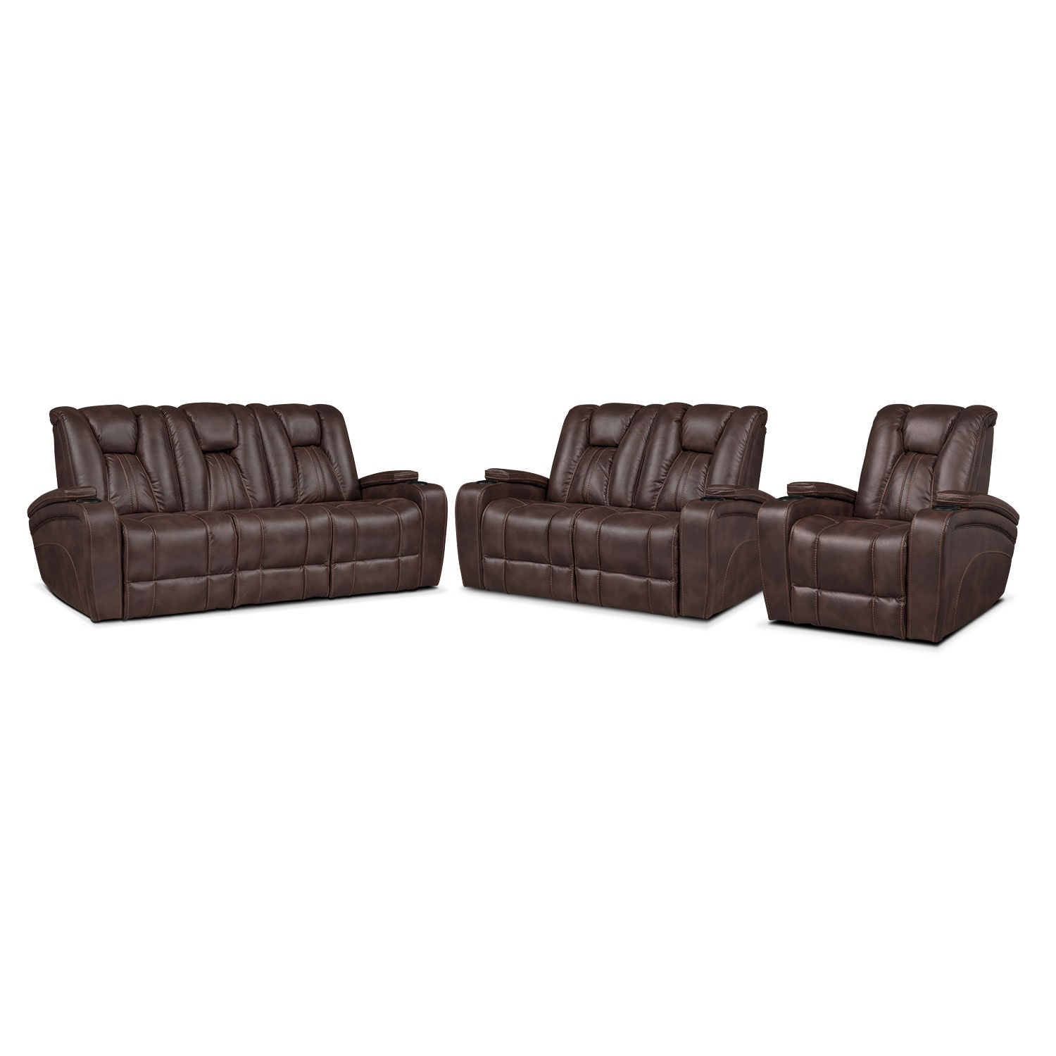 Pulsar Power Reclining Sofa, Power Reclining Loveseat and Power Recliner Set - Brown