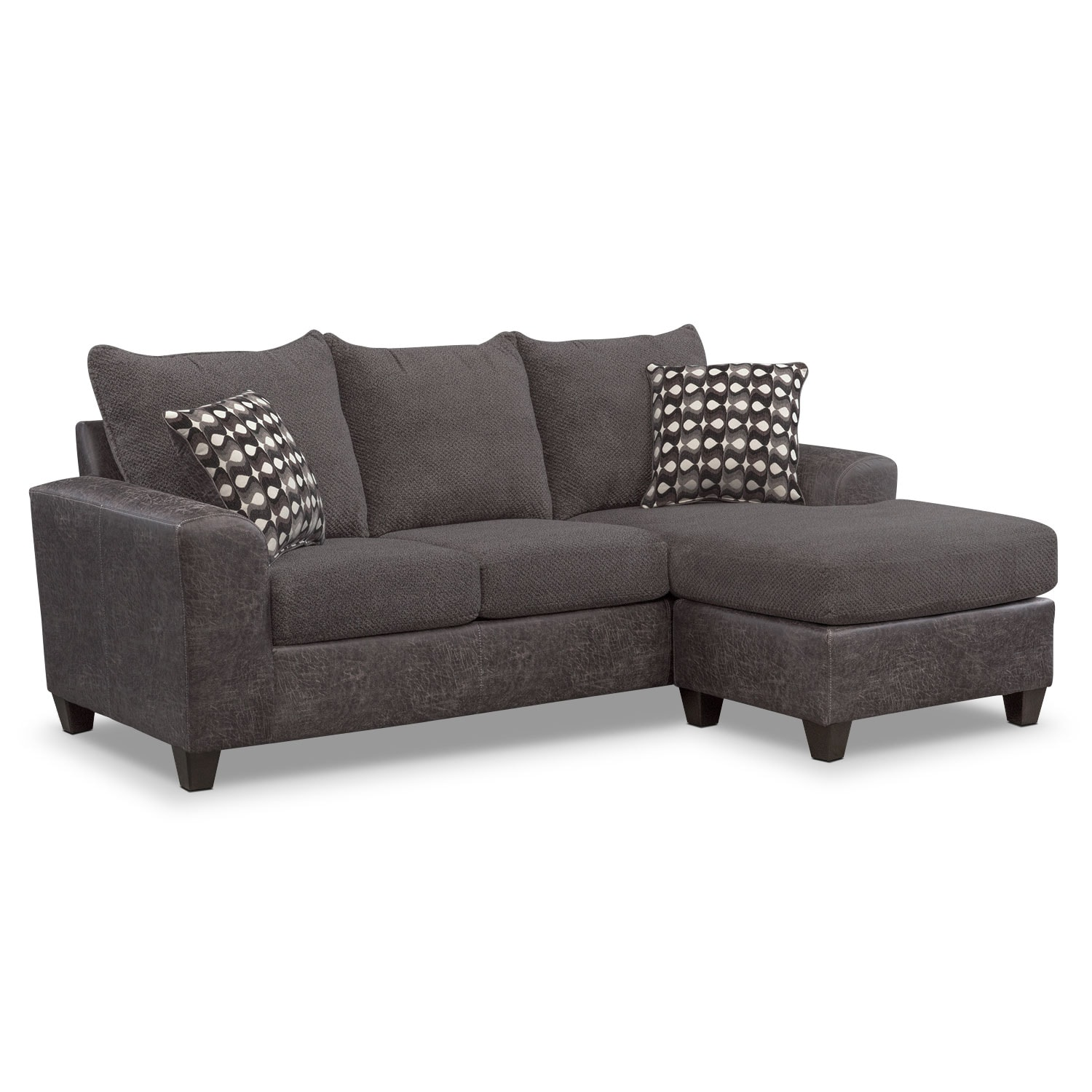 Brando Sofa with Chaise - Smoke  sc 1 st  Value City Furniture : chaise sofa chair - Sectionals, Sofas & Couches