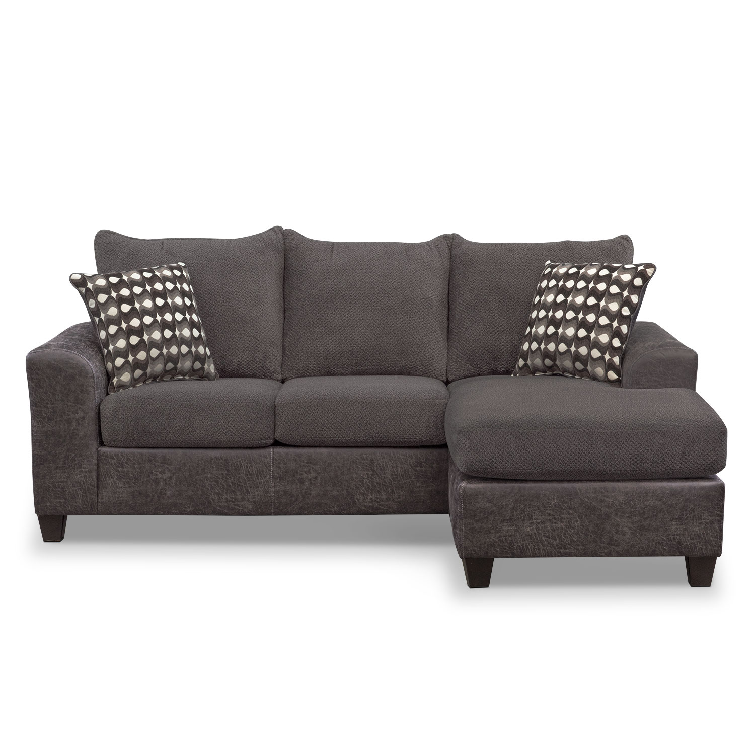 Click to change image. - Brando Sofa With Chaise - Smoke Value City Furniture