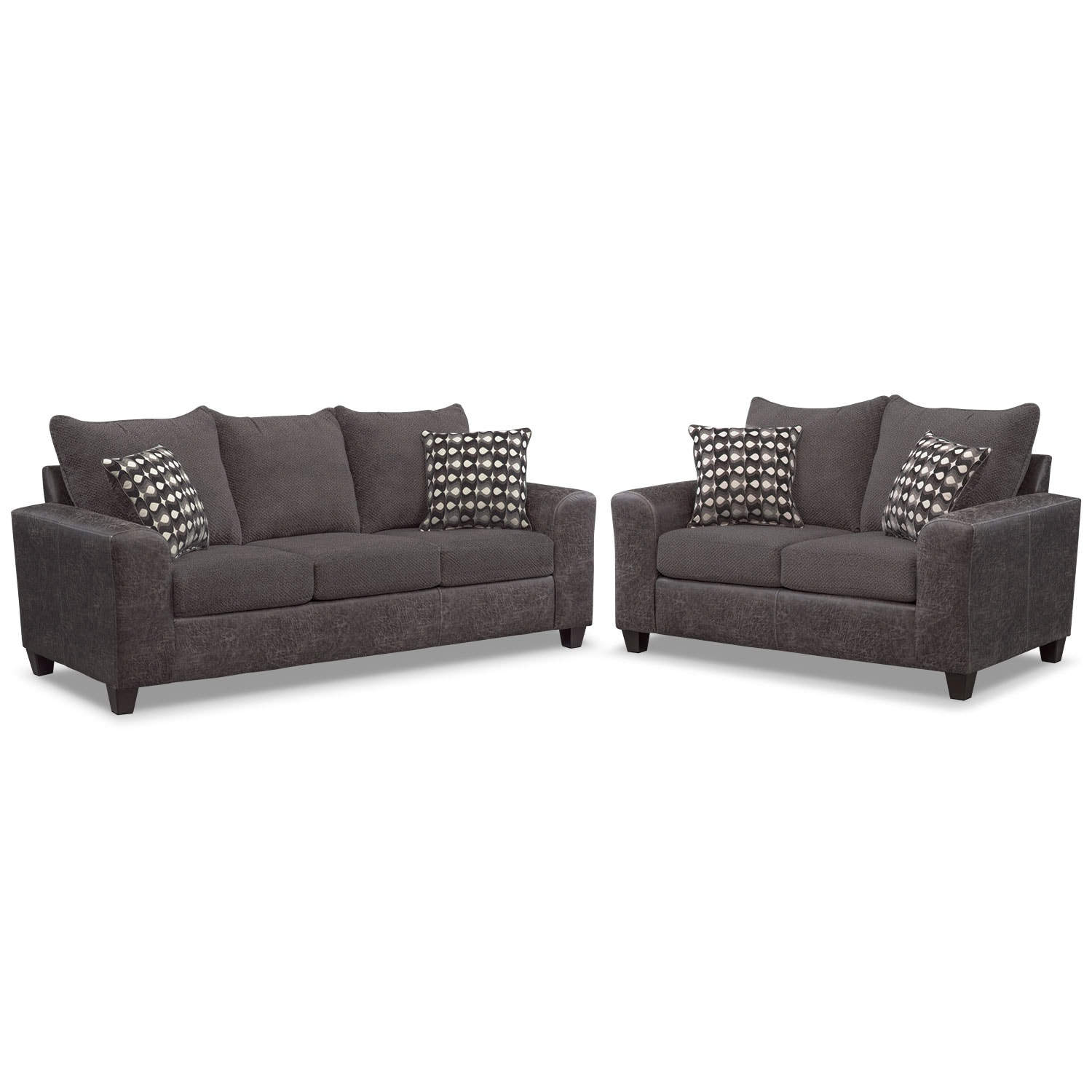 Living Room Furniture - Brando Sofa and Loveseat Set - Smoke