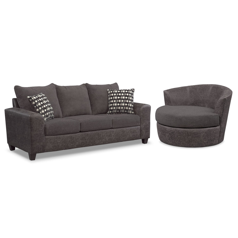 Living Room Furniture - Brando Memory Foam Sleeper Sofa and Swivel Chair Set - Smoke