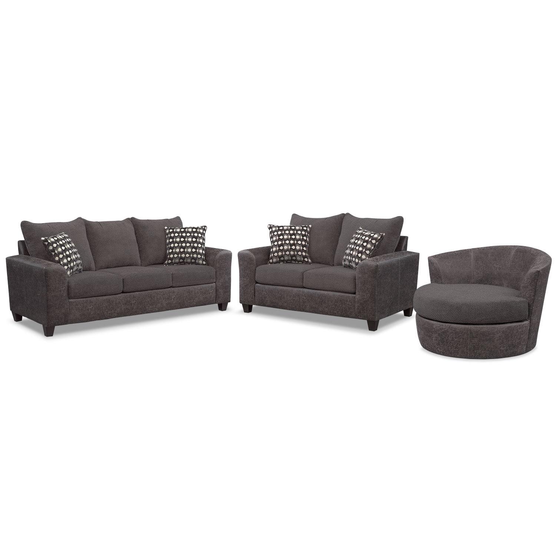 Brando Memory Foam Sleeper Sofa, Loveseat and Swivel Chair Set - Smoke