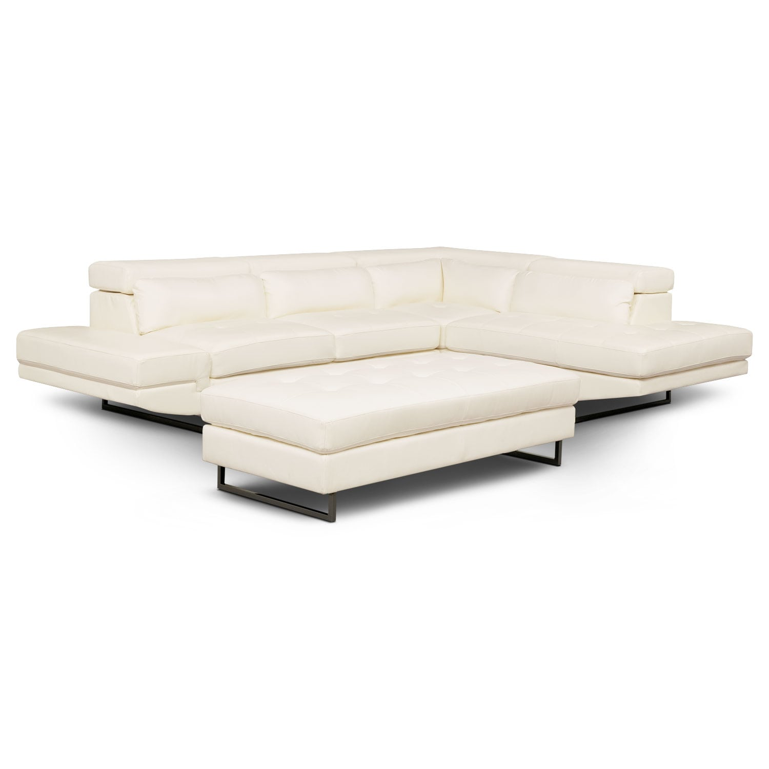 Living Room Furniture - Torino 2-Piece Sectional with Right-Facing Chaise and Cocktail Ottoman - White