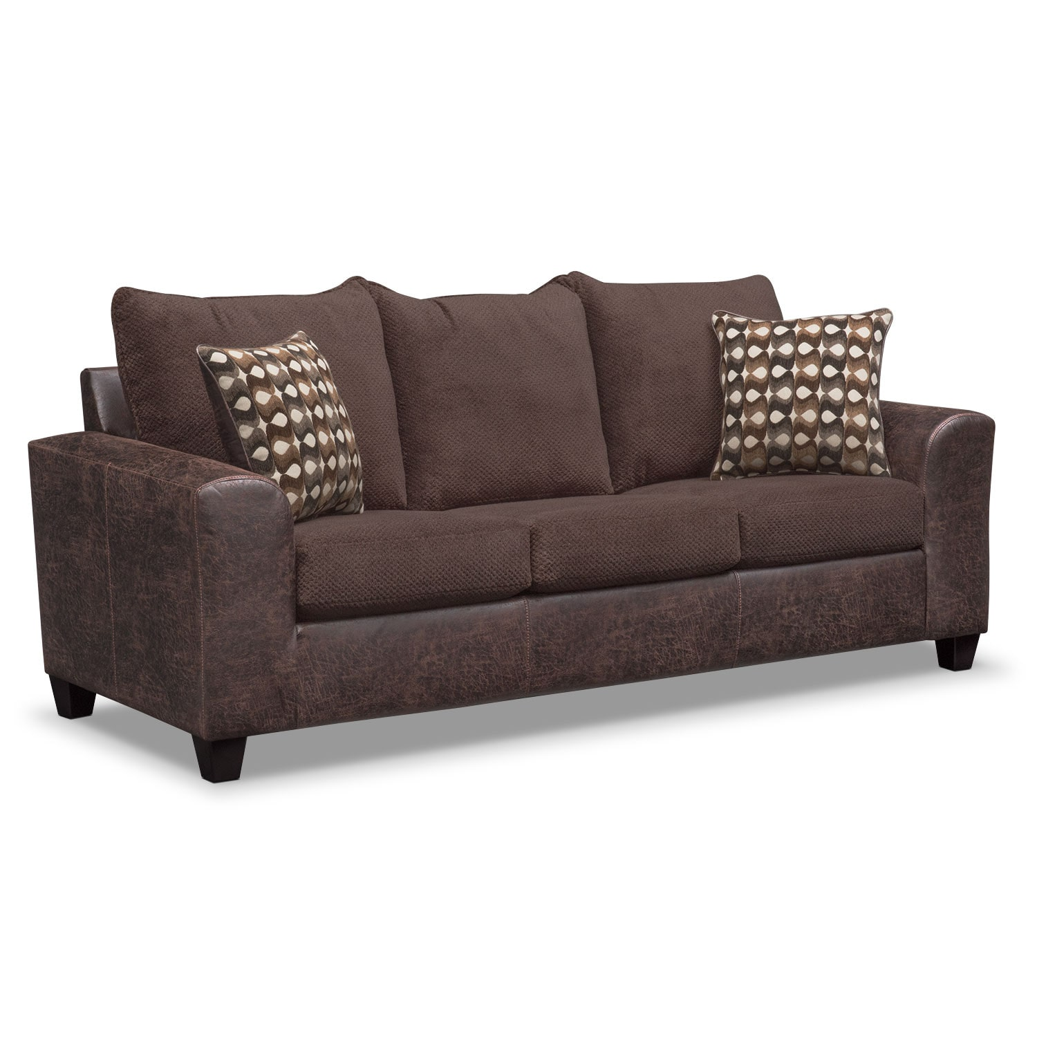brando sofa chocolate value city furniture. Black Bedroom Furniture Sets. Home Design Ideas