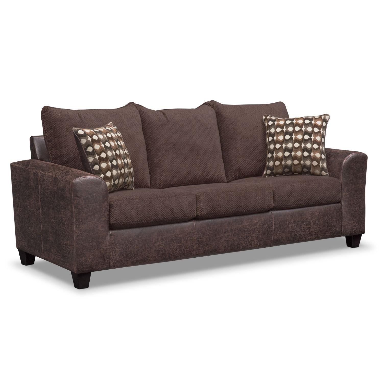 Living Room Furniture - Brando Queen Memory Foam Sleeper Sofa - Chocolate