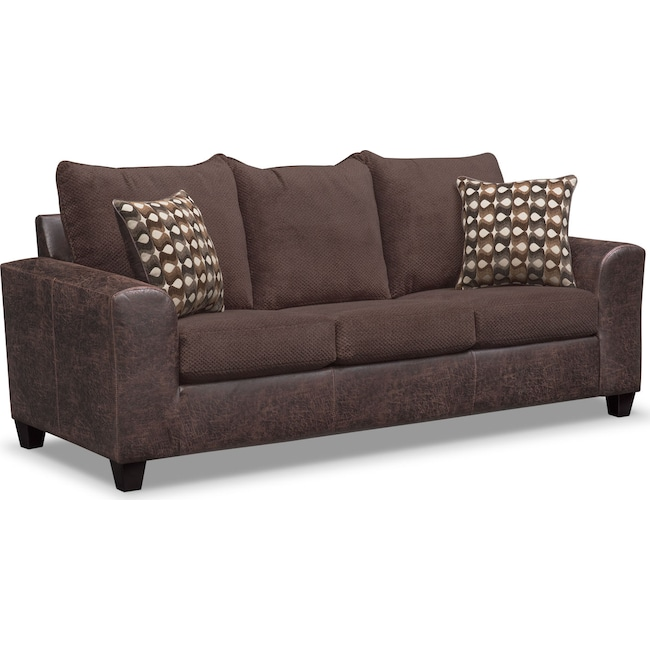 Living Room Furniture - Brando Queen Memory Foam Sleeper Sofa - Chocolate