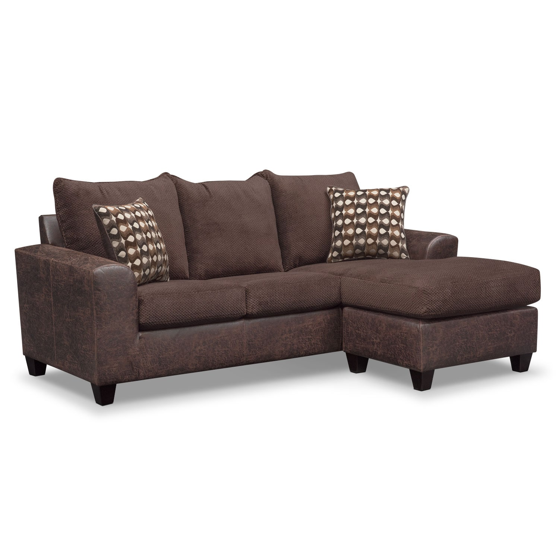 Brando Sofa with Chaise - Chocolate