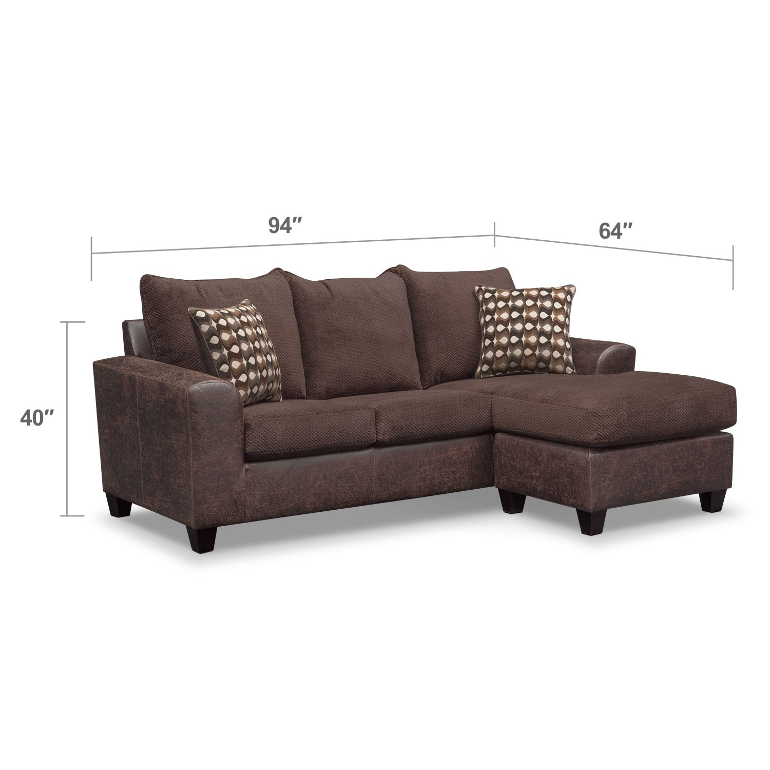 Living Room Furniture - Brando Sofa with Chaise - Chocolate