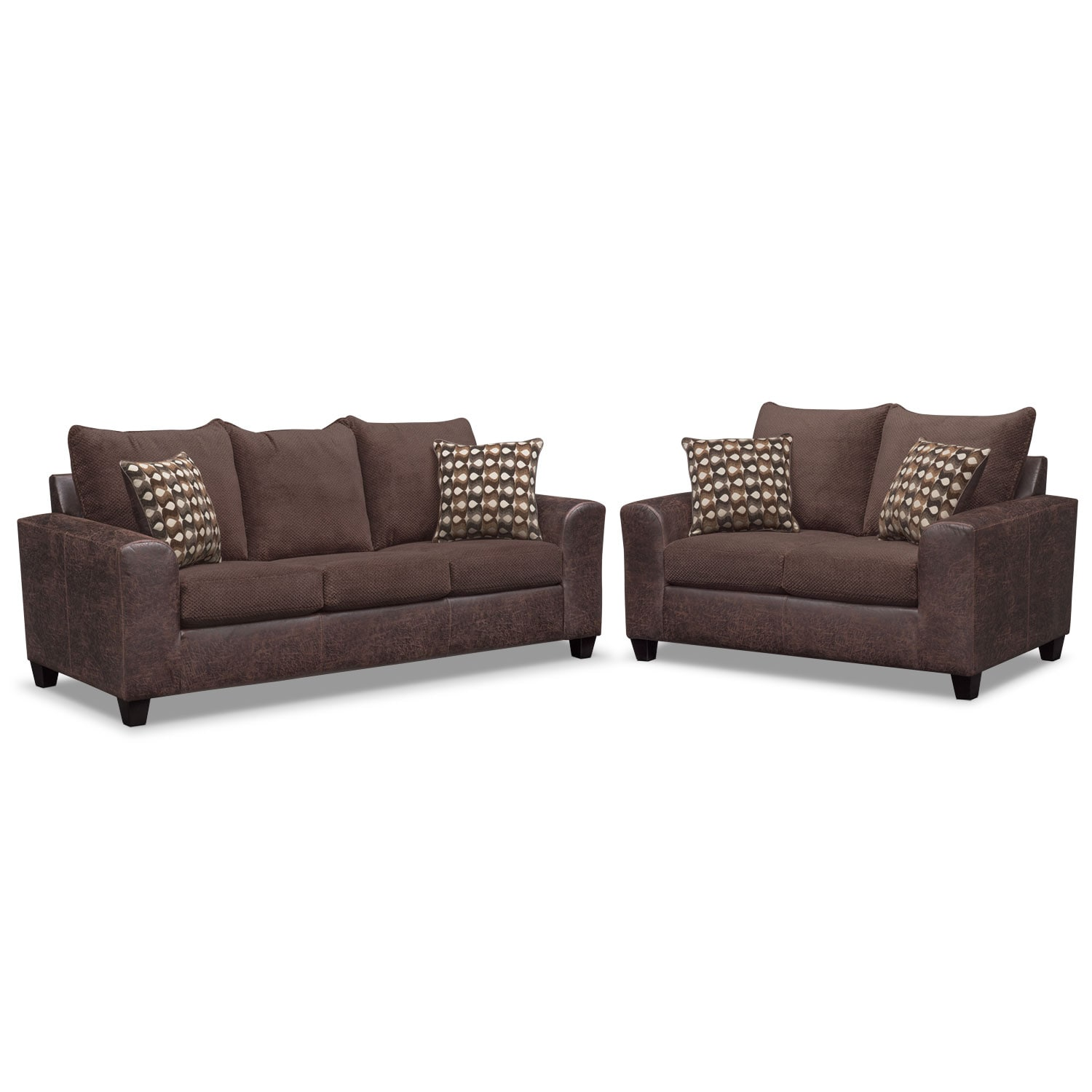 Living Room Furniture - Brando Queen Sleeper Sofa and Loveseat Set