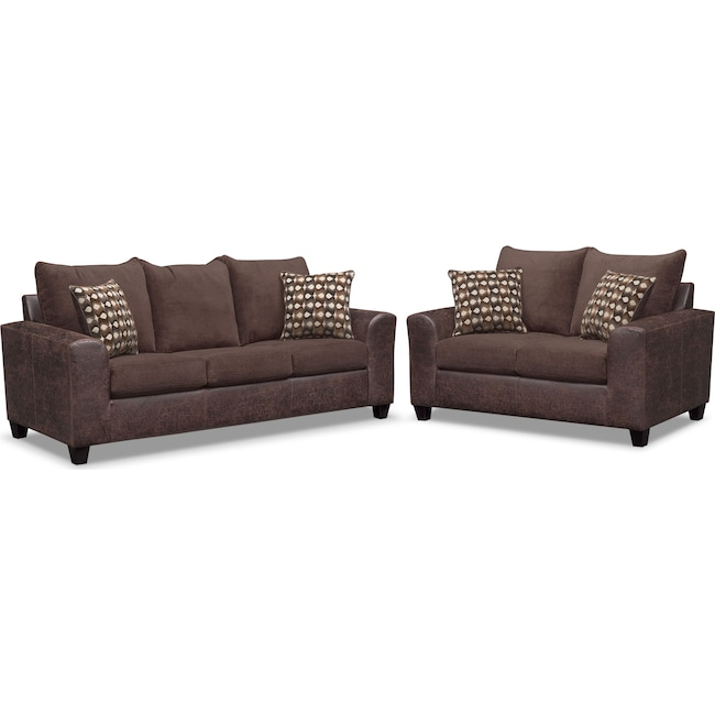 Living Room Furniture - Brando Queen Memory Foam Sleeper Sofa and Loveseat Set - Chocolate