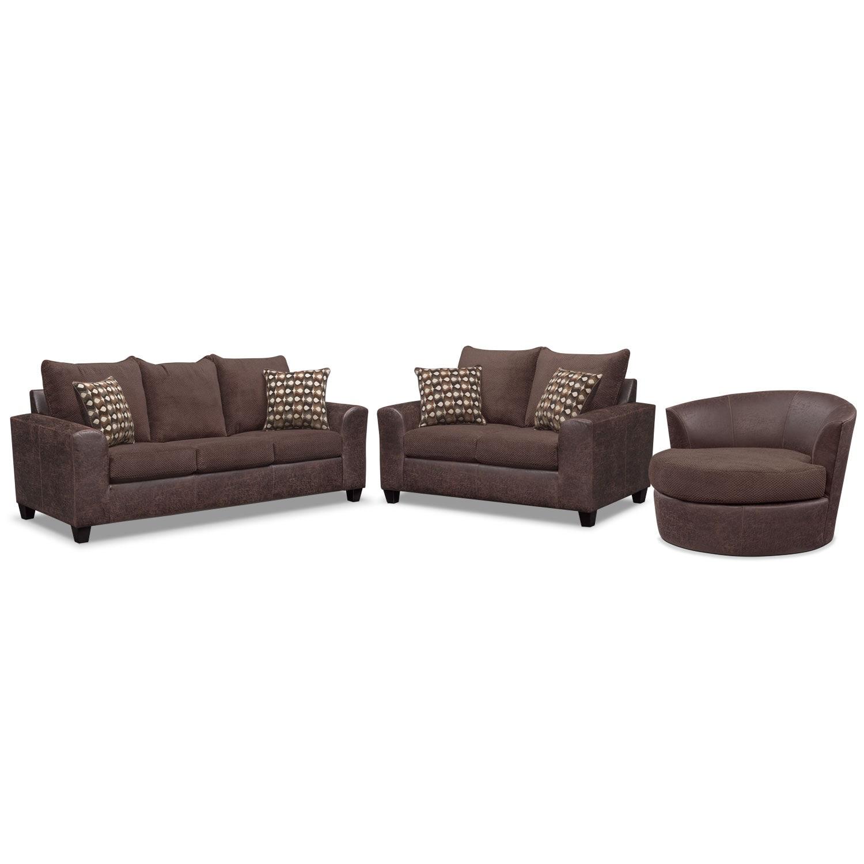 Brando Queen Innerspring Sleeper Sofa, Loveseat and Swivel Chair Set - Chocolate