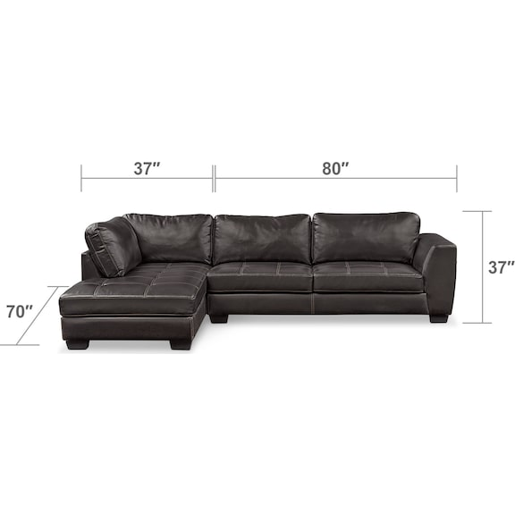 Living Room Furniture - Santana 2-Piece Sectional with Left-Facing Chaise and Cocktail Ottoman Set - Black