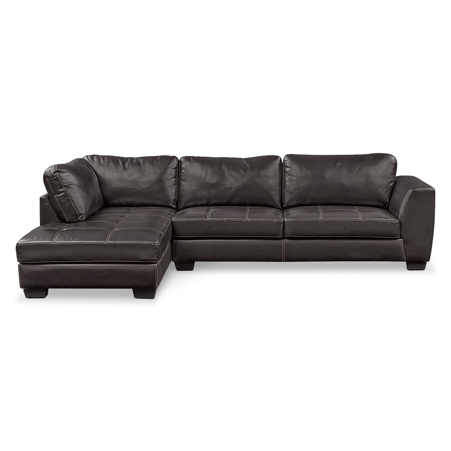 Santana 2-Piece Sectional with Left-Facing Chaise - Black