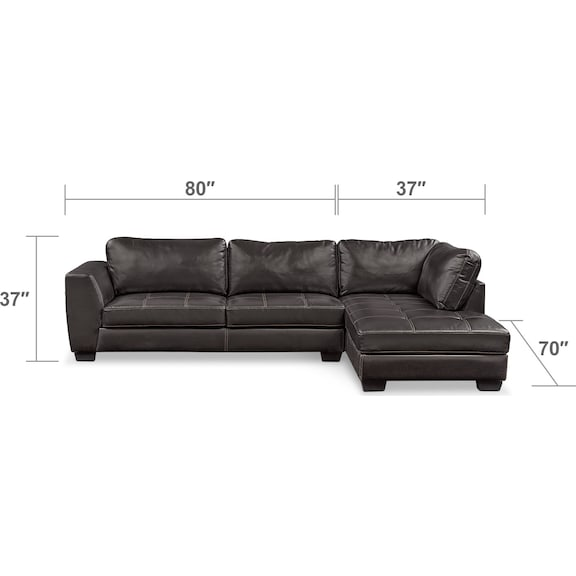 Living Room Furniture - Santana 2-Piece Sectional with Right-Facing Chaise - Black
